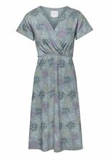 New MISTRAL Jersey V Neck Grey Blue Teal Floral Cow Parsley Dress  RRP £55 8-12
