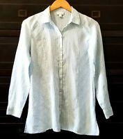 J.Jill Womens  Collar Shirt Blouse Top Linen Button Down Teal Stripe  Sz XS