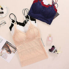 Women Lace Floral Padded Bralette Bralet Bra Bustier Long Crop Top Cami Tank TES