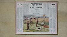 CALENDRIER ALMANACH POSTE PTT 1938 INDRE SCENE DE CHASSE PAR BEUZON