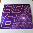 PURPLE CHROME /GOLD #6's Decal Sticker Sheet DEFECTS  1/8-1/10-1/12 RC Mo BoxD
