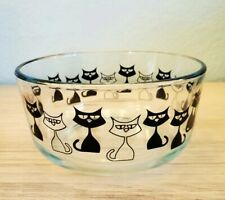 Pyrex HTF  Black Cat Glass Bowl  EUC