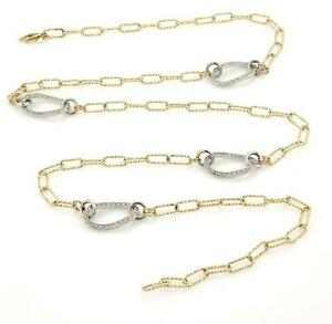 New 2.2ct Diamonds 14k Two Tone Gold Reversible Fancy Oval Link Necklace
