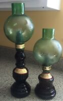 2 Vintage Green Glass Large Casa Vento Wine Bottle Decanter Candle Lamps