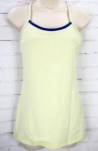 Lululemon Power Y Yoga Tank Top Luon Women's 8 Neon Yellow Green Stripes