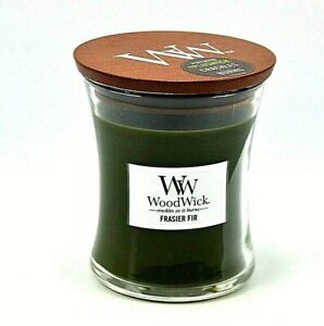 WoodWick Candle Frasier Fir Hourglass Wood Lid Crackles as it Burns 9.7 oz NEW