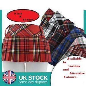 "9"" or 12"" Ladies Women Girls Tartan Mini Micro Pleated Skirt Kilt"