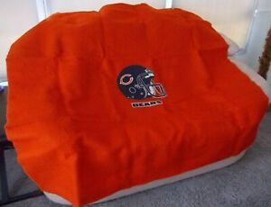 Chicago Bears Football Blanket Wool VINTAGE 58x52 Helmet EXCELLENT Stadium Throw