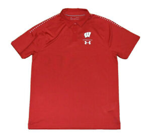 CURRENT STYLE Under Armour Heat Gear Polo Shirt Men Large Wisconsin Badgers EUC
