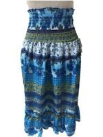 Squeeze skirt or dress size L XL NEW blue floral smocked top ruffle hem