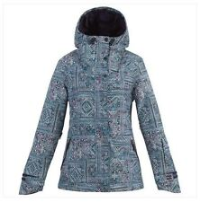 2016 NWT WOMENS BILLABONG CHEEKY PRINTED JACKET $160 S peacoat zipper chin guard