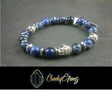 Sodalite Buddha Bracelet 8mm Blue Stone Beads Ladies Mens Jewelry UK Seller