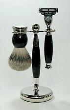 HANS BAIER Set rasatura Pennello Da Barba In Pelo Di Tasso Con Punta In Argento