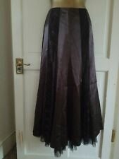 M&S PER UNA Chocolate Brown Satin & Lace Panelled A-Line Floaty Skirt Size 8