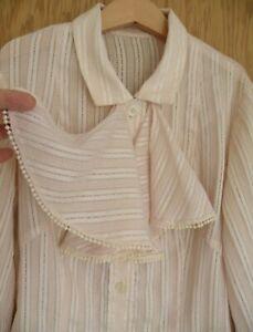 Antique Vintage ladies blouse, pale pink, ruffles, cut work cotton lace 40s 50s