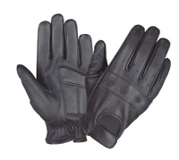 Mens Black Leather Motorcycle Full Finger Gloves 8205