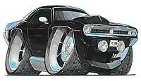 Plymouth Barracuda Black Cartoon Car T-shirt cuda hemi shaker hood Sizes S-3XL