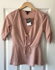 TOPSHOP DUSKY PINK TIE FRONT CREPE BLOUSE TOP UK 8 NEW