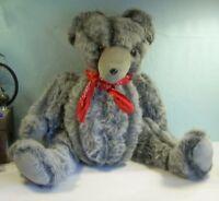 "LARGE floppy Handmade GRAY TEDDY BEAR 27"" Long pile plush corduroy CHARMING OOAK"