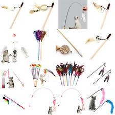 New listing Interactive Sisal Balls Feather Cat Stick Teaser Wand Playing Rod Cat Toy .rd