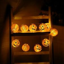 Calabaza 10led Cuerda Lámpara Decoración para Halloween Luz Blanco cálido