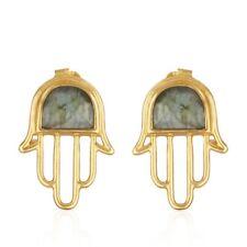 18k Gold Plated Silver Hamsa Hand Earring Labradorite Gemstone Stud Jewelry