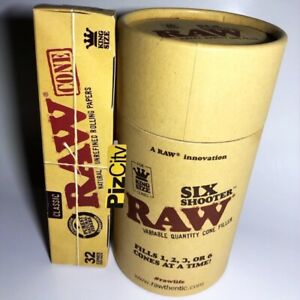*£21.95* RAW Six Shooter - Kingsize Cone Filler + x1 32 Pack RAW Classic Cones