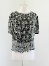 Adrianna Papell Black Silver Silk Beaded Sequin Evening Blouse Top Floral Sz XL