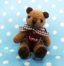 DOLLHOUSE MINIATURE PLUSH JOINTED TEDDY BEAR HANDMADE BALL CHAIN KEY CHAIN
