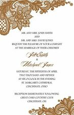 Wedding Invitations Lace Any Colors Personalized - 50 Invitations & RSVP Cards