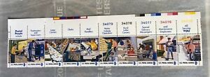 1973 US Stamp Sheet-Postal Service Employees issue-MNH-Plate number strip of 10