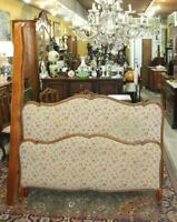 French Antique Carved Walnut Louis XV Full Size Upholstered Bed