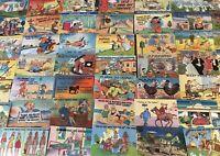 Lot of 50 Linen Humor Comic ~Funny Vintage Cartoon Postcards-unused--b831