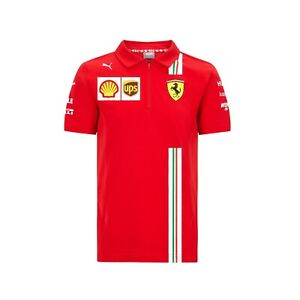 NEW 2020 Scuderia FERRARI F1 Team Zip POLO Shirt Top MENS Red Vettel, Leclerc