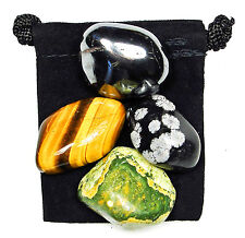 PROBLEM RESOLUTION Tumbled Crystal Healing Set = 4 Stones + Pouch + Card