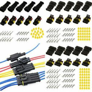 15 Kit 2/3/4 Broche Cosse Électrique Connecteur Fil Prise Fiche Etanche Voiture