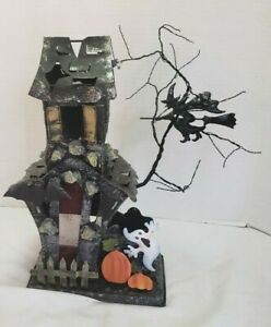 """Vintage Halloween Haunted House Votive Candle Holder 16"""" tall"""