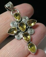 Sterling Silver Natural 9cts Citrine Gem Stone Religious Cross Necklace PENDANT