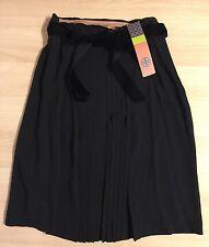 NWT Tory Burch Black 100% Silk Georgina Skirt w/ Velvet Belt-Size 4-$395 retail