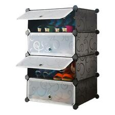 Keimav DIY Shoe Rack 4 Tier Tupper Cabinet Short (Black)