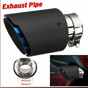 63mm-101mm Universal Carbon Fiber Blue Car Exhaust Pipe Tail Muffler End Tip AU