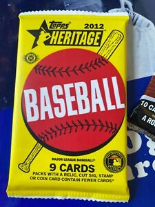 2012 TOPPS HERITAGE HOBBY PACK 9 BASEBALL CARDS NEW SEALED MIKE TROUT ? From Box