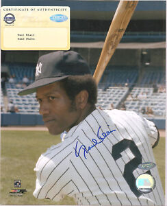 Paul Blair Signed 8x10 Photo Steiner COA Autographed NY New York Yankees a