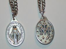 "Our Lady of Grace Miraculous Medal on 24"" Stainless Steel Chain English Prayer"
