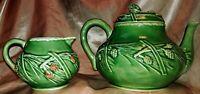 Bordallo Pinheiro Caldas Da Rainha Portugal Pine-Pattern Teapot &Creamer~Vintage