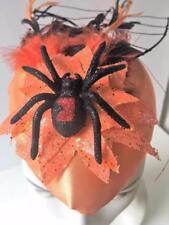 Halloween Party Spider Tarantula Hat Fascinator Costume Orange Black Glitter