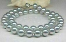 """18""""9-10mm natural south sea genuine silver gray pearl necklace 341AAA"""