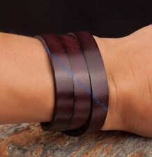 Mens Charm Cowhide Leather Band Bracelet Wristband Surfer Adjustable Cuff Gift