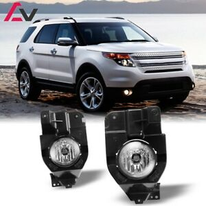 For Ford Explorer 11-15 Clear Lens Pair Bumper Fog Light Lamp OE Replacement