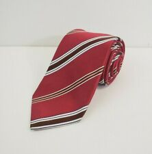 Isaia Napoli Neiman Marcus Mens Neck Tie 100% Silk Red Striped Made in Italy